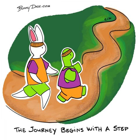 The journey begins with a step
